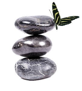 Balanced stones and butterfly